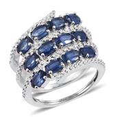 Kanchanaburi Blue Sapphire Platinum Over Sterling Silver Bypass Split Band Ring (Size 7.0) TGW 3.360 cts.