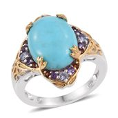 Sonoran Blue Turquoise, Multi Gemstone 14K YG and Platinum Over Sterling Silver Ring (Size 10.0) TGW 9.000 cts.
