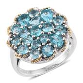 Madagascar Paraiba Apatite 14K YG and Platinum Over Sterling Silver Cluster Ring (Size 6.0) TGW 4.65 cts.