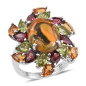Bumble Bee Jasper, Multi Gemstone Platinum Over Sterling Silver Ring (Size 6.0) TGW 15.020 cts.