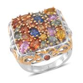 Multi Sapphire 14K YG Over and Sterling Silver Openwork Cluster Ring (Size 8.0) TGW 5.760 cts.