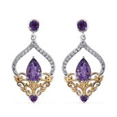 Amethyst, White Topaz 14K YG and Platinum Over Sterling Silver Earrings TGW 3.43 cts.