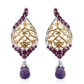 Amethyst, Orissa Rhodolite Garnet 14K YG and Platinum Over Sterling Silver Dangle Drop Earrings TGW 3.68 cts.