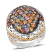 Multi Sapphire 14K YG Over and Sterling Silver Ring (Size 10.0) TGW 5.900 cts.