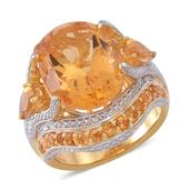 Brazilian Citrine 14K YG Over Sterling Silver Cocktail Ring (Size 7.0) TGW 11.360 cts.