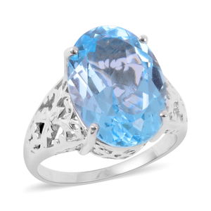 Sky Blue Topaz 14K YG and Platinum Over Sterling Silver Openwork Solitaire Ring (Size 10.0) TGW 15.50 cts.