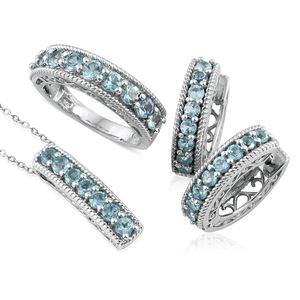 Madagascar Paraiba Apatite Platinum Over Sterling Silver Hoop Earrings, Ring (Size 8) and Pendant With Chain (20 in) TGW 4.150 cts.