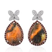 Bumble Bee Jasper, Mozambique Garnet, White Topaz Platinum Over Sterling Silver Drop Earrings TGW 21.460 Cts.