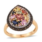 Multi Sapphire, Brazilian Smoky Quartz, White Topaz 14K YG Over Sterling Silver Ring (Size 6.0) TGW 3.535 cts.