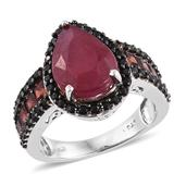 Niassa Ruby, Mozambique Garnet, Thai Black Spinel Platinum Over Sterling Silver Midnight Flame Ring (Size 9.0) 0 0 TGW 9.770 cts.
