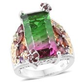Watermelon Quartz, Multi Gemstone 14K YG and Platinum Over Sterling Silver Butterfly Ring (Size 7.0) TGW 15.21 cts.