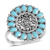 Santa Fe Style Turquoise Sterling Silver Ring (Size 10.0) TGW 2.10 cts.