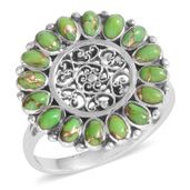 Santa Fe Style Green Moldavite Sterling Silver Ring (Size 10.0) TGW 2.100 cts.