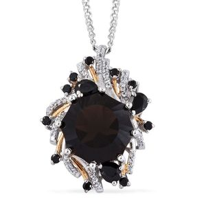 Brazilian Smoky Quartz, Thai Black Spinel, White Topaz 14K YG and Platinum Over Sterling Silver Fancy Pendant With Chain (20 in) TGW 14.490 Cts.