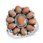 Santa Fe Style Spiny Oyster Shell Orange Sterling Silver Floral Ring (Size 8.0)