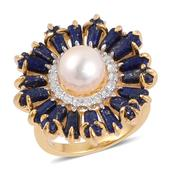 Pearl Expressions Japanese Akoya Pearl, Lapis Lazuli, White Topaz 14K YG Over Sterling Silver Ring (Size 9.0) TGW 4.70 cts.