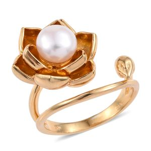 Freshwater Pearl 14K YG Over Sterling Silver Open Floral Ring (Size 10.0)