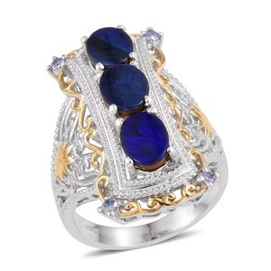Australian Boulder Opal, Tanzanite 14K YG and Platinum Over Sterling Silver Openwork Ring (Size 7.0) TGW 3.040 cts.