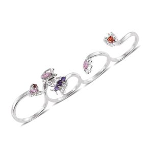 KARIS Collection - Simulated Multi Color Diamond Platinum Bond Brass 4 Finger Butterfly Ring (Size 8.0) TGW 1.81 cts.
