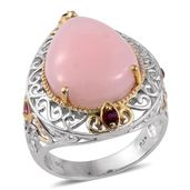 Peruvian Pink Opal, Ruby 14K YG and Platinum Over Sterling Silver Openwork Ring (Size 7.0) TGW 12.04 cts.