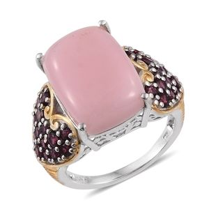 Peruvian Pink Opal, Purple Garnet 14K YG and Platinum Over Sterling Silver Ring (Size 7.0) TGW 12.000 cts.