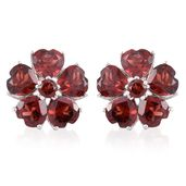 Mozambique Garnet Platinum Over Sterling Silver Flower Earrings TGW 9.40 cts.