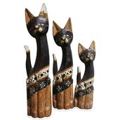 Handcarved and Painted Wooden Cats Set of 3 (13,11,10 in)