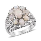Ethiopian Welo Opal, White Topaz Platinum Over Sterling Silver Openwork Ring (Size 8.0) TGW 2.60 cts.