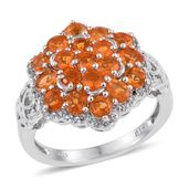 Salamanca Fire Opal, White Topaz Platinum Over Sterling Silver Ring (Size 8.0) TGW 1.89 cts.
