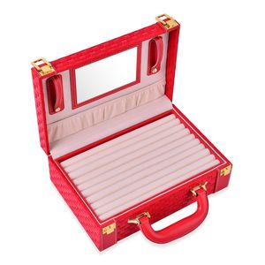 2 Tier Red Woven Faux Leather Briefcase Style Jewelry Box with Ring Storage (Approx 72), 6 Big Compartments, 2 Button Chain Holders, and Storage Pocket (10.5x3.5x7.5 in)