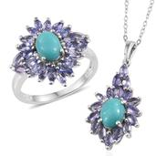 Sonoran Blue Turquoise, Tanzanite Platinum Over Sterling Silver Ring (Size 7) and Pendant With Chain (20 in) TGW 6.320 cts.
