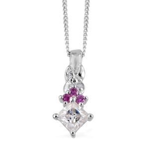 Moissanite, Madagascar Pink Sapphire, Diamond Accent Platinum Over Sterling Silver Pendant With Chain (20 in) TGW 0.35 cts.