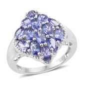 Premium AAA Tanzanite Platinum Over Sterling Silver Ring (Size 6.0) TGW 3.78 cts.