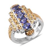 Premium AAA Tanzanite 14K YG and Platinum Over Sterling Silver Openwork Ring (Size 6.0) TGW 2.250 cts.
