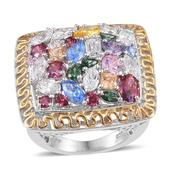 J Francis - 14K YG and Platinum Over Sterling Silver Ring Made with Multi Color SWAROVSKI ZIRCONIA (Size 9.0) TGW 17.216 cts.