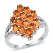 Salamanca Fire Opal, White Zircon Platinum Over Sterling Silver Split Ring (Size 7.0) TGW 2.070 cts.
