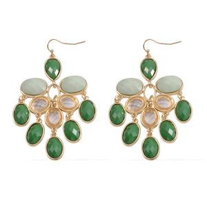 Green Chroma, Glass Goldtone Chandelier Earrings