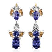 Premium AAA Tanzanite 14K YG and Platinum Over Sterling Silver Earrings TGW 2.14 cts.