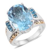 Swiss Blue Topaz, Malgache Neon Apatite 14K YG and Platinum Over Sterling Silver Statement Ring (Size 9.0) TGW 15.030 cts.