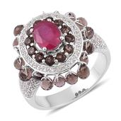 Niassa Ruby, Brazilian Smokey Quartz, White Topaz Sterling Silver Dangle Ring (Size 8.0) TGW 6.610 cts.