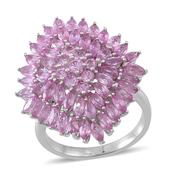 Madagascar Pink Sapphire Sterling Silver Cluster Ring (Size 7.0) TGW 5.89 cts.