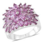 Madagascar Pink Sapphire Sterling Silver Ring (Size 9.0) TGW 3.52 cts.