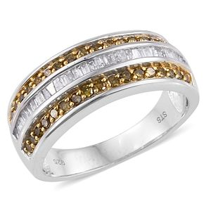 Yellow Diamond (IR), Diamond 14K YG and Platinum Over Sterling Silver Ring (Size 8.0) TDiaWt 0.97 cts, TGW 0.970 cts.