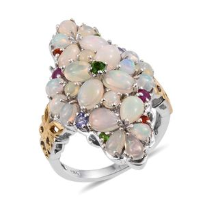 Ethiopian Welo Opal, Multi Gemstone 14K YG and Platinum Over Sterling Silver Ring (Size 6.0) TGW 4.85 cts.