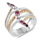 KARIS Collection - ION Plated 18K YG and Platinum Bond Brass Openwork Elongated Ring (Size 7.0) Made with SWAROVSKI Multi Color Crystal TGW 0.730 cts.