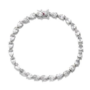 Doorbuster White Topaz, Ruby Platinum Over Sterling Silver Bracelet (7.50 In) TGW 12.520 cts.