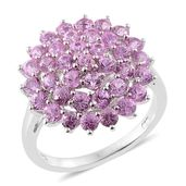 Madagascar Pink Sapphire Platinum Over Sterling Silver Cluster Ring (Size 5.0) TGW 3.42 cts.