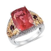 Papaya Quartz, Anthill Garnet, White Topaz 14K YG and Platinum Over Sterling Silver Ring (Size 9.0) TGW 12.20 cts.