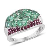 Boyaca Colombian Emerald, Ruby Platinum Over Sterling Silver Concave Ring (Size 7.0) TGW 2.715 cts.