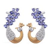 Premium AAA Tanzanite, White Topaz 14K YG and Platinum Over Sterling Silver Peacock Ear Cuff Earrings TGW 5.040 Cts.